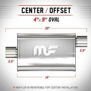 Silencioso deportivo Magnaflow Oval   4″x 9″   Diámetro entrada/salida 2.5″