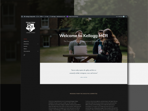 Building an elegant and timeless website for Oxford University, Kellogg College MCR