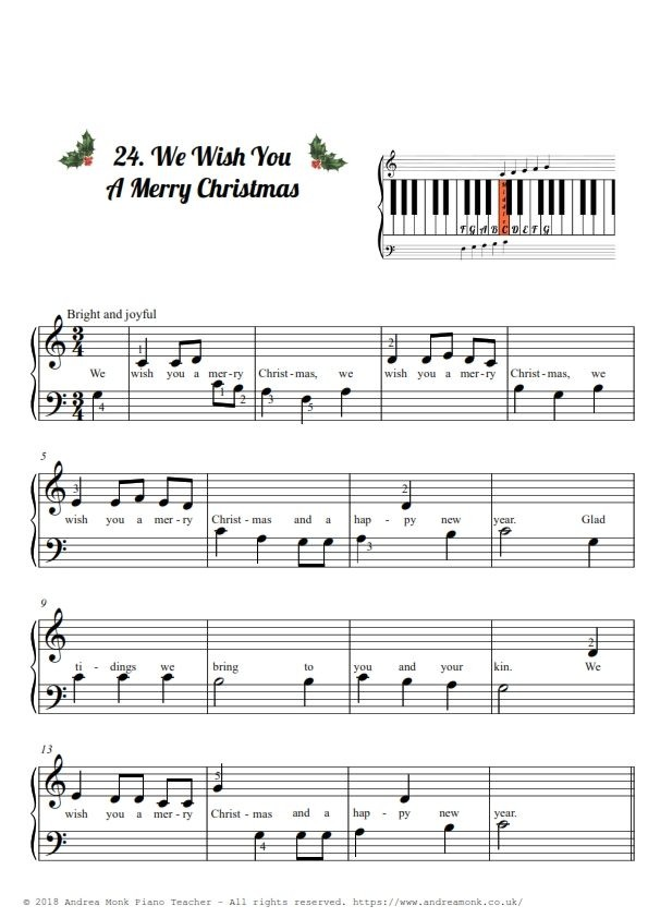 Christmas Carols for Beginner piano