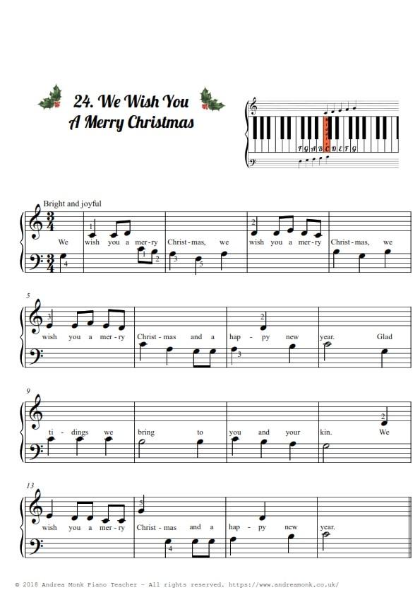 Christmas Carols for Beginner piano