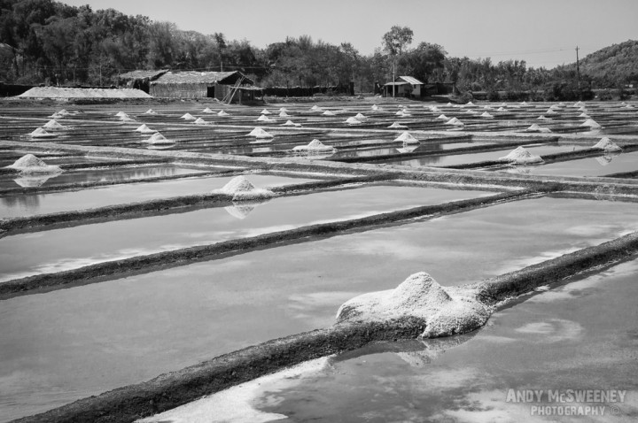 Piles of salt surrounded by water in Gokarna, South-India 2010