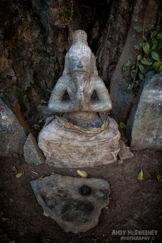 A praying Buddha sculpture collecting coins from devotees, under a tree in South-India