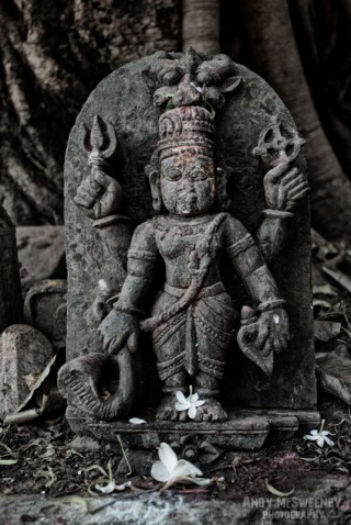 Black and white photo of a stone Ganesh sculpture in Gokarna, South-India