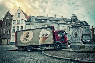 The beer truck parcs where possible during the Christmas holidays in a square in Brugge, Belgium