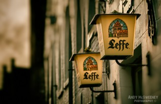 Colorful Leffe signs at a bar in Brugge, Belgium