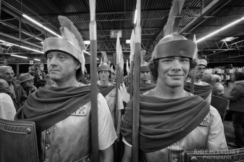 A black and white photo of an army of knights at the rehearsal waiting to go at the Holy Blood Procession in Brugge, Belgium 2015