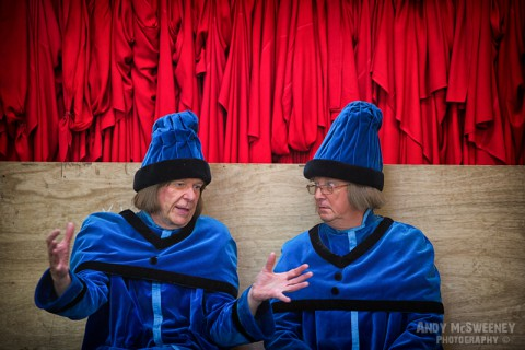 Two figurants in full costume talking at the rehearsal of the Holy Blood Procession in Brugge, Belgium 2015