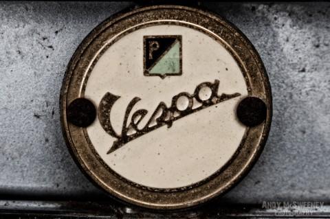 Detail shot of a speedometer on a vintage Vespa scooter during Mod Days Brugge, Belgium