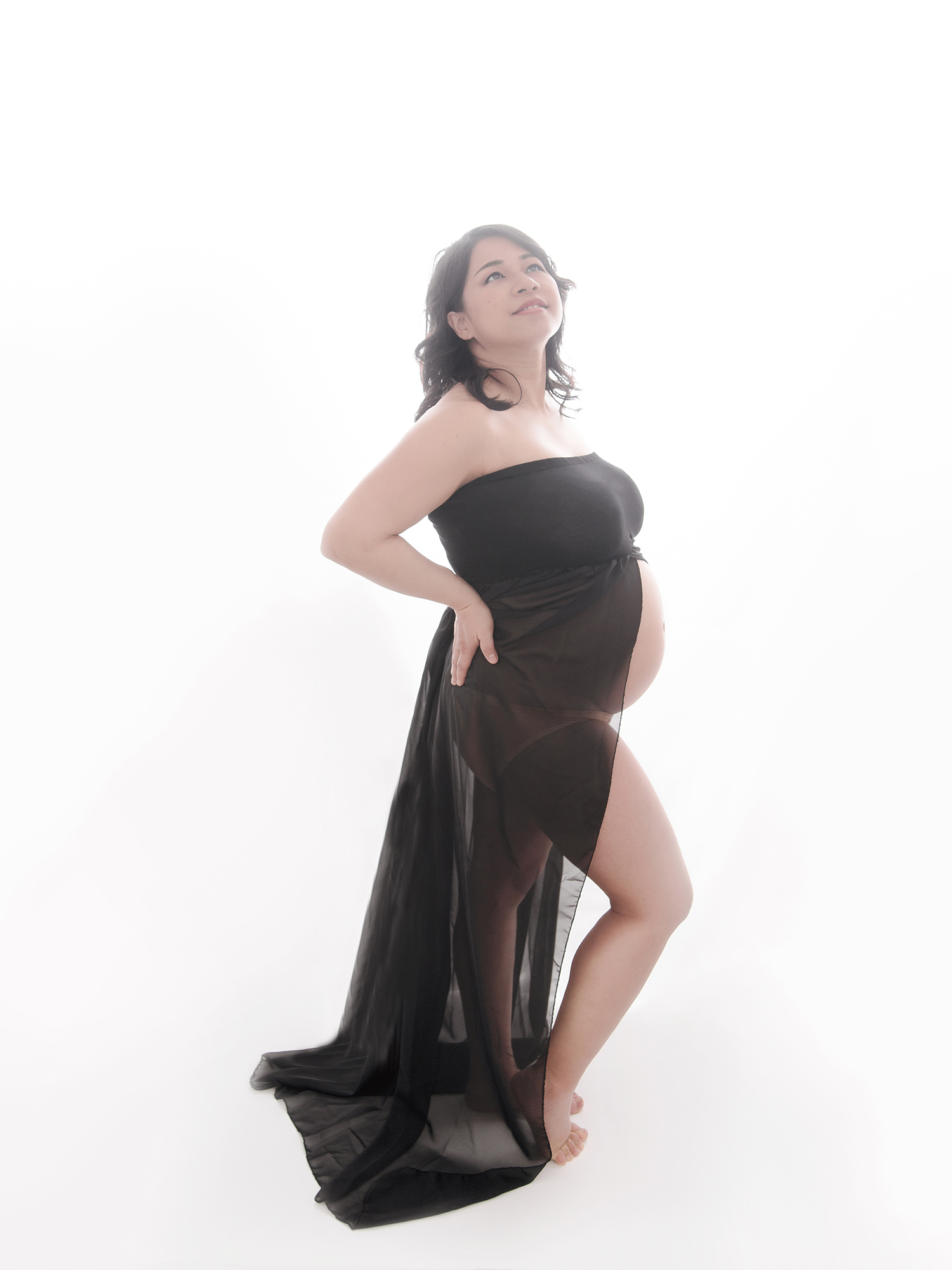 black dress white background studio pregnancy maternity photography edinburgh midlothian