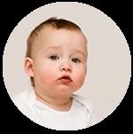 Babyhoofdje rond Werken met babys