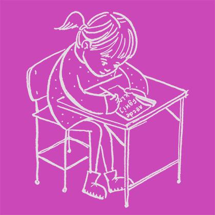 DOE homepage meisje aan bureau paars