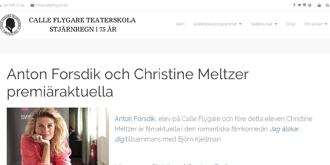 Calle flygare teaterskola,Christine Meltzer,Anton Forsdik,