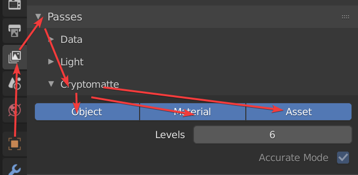 settings in the properties panel for cryptomatte