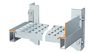 BANDING TYPES. Special interlocking element with push-through safety.  Mounted between two longitudinal beams combined with push-through safety.