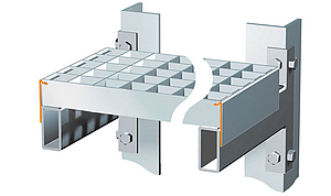 T-profile band with locking mechanism.  Mounted on two longitudinal beams with overlapping bands and a locking mechanism.