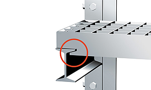 Lift-prevention device.  The special band design creates the lift and shift-safe position of the grating, by use of a special I-beam profile. (As shown in diagram).