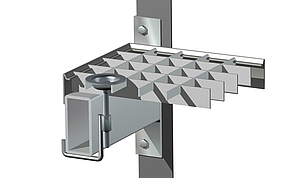 FIXINGS FOR GRATING SHELVES  Fixing N° 18b (70x55mm), suitable for 50mm wide shelf- bearers.
