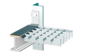 SPECIAL PROFILE Patented special profile system for high load-bearing capacity shelf gratings: interlocking connection between bearing bar and special profile.
