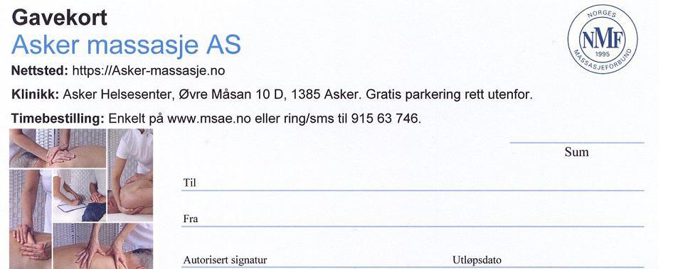 Kjøp gavekort hos Asker Massasje