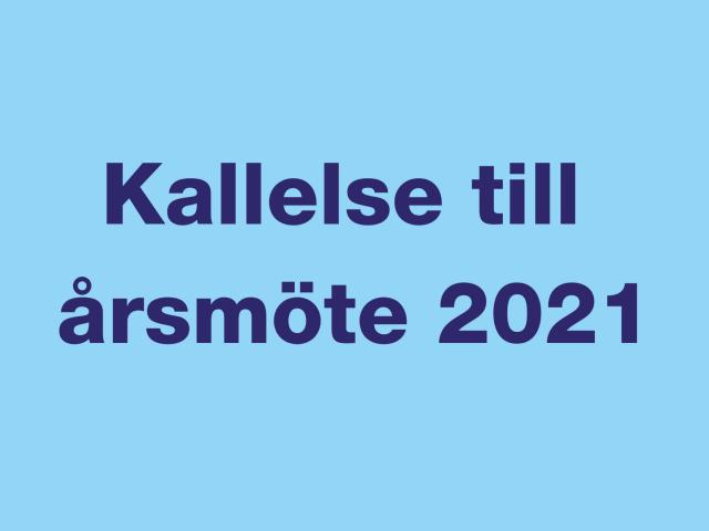Kallelse till årsmöte 2021