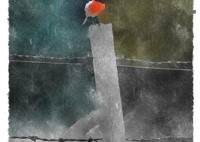 Red robin på staketpinne