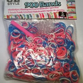 Loom Bands Pink, hvid, lyseblå