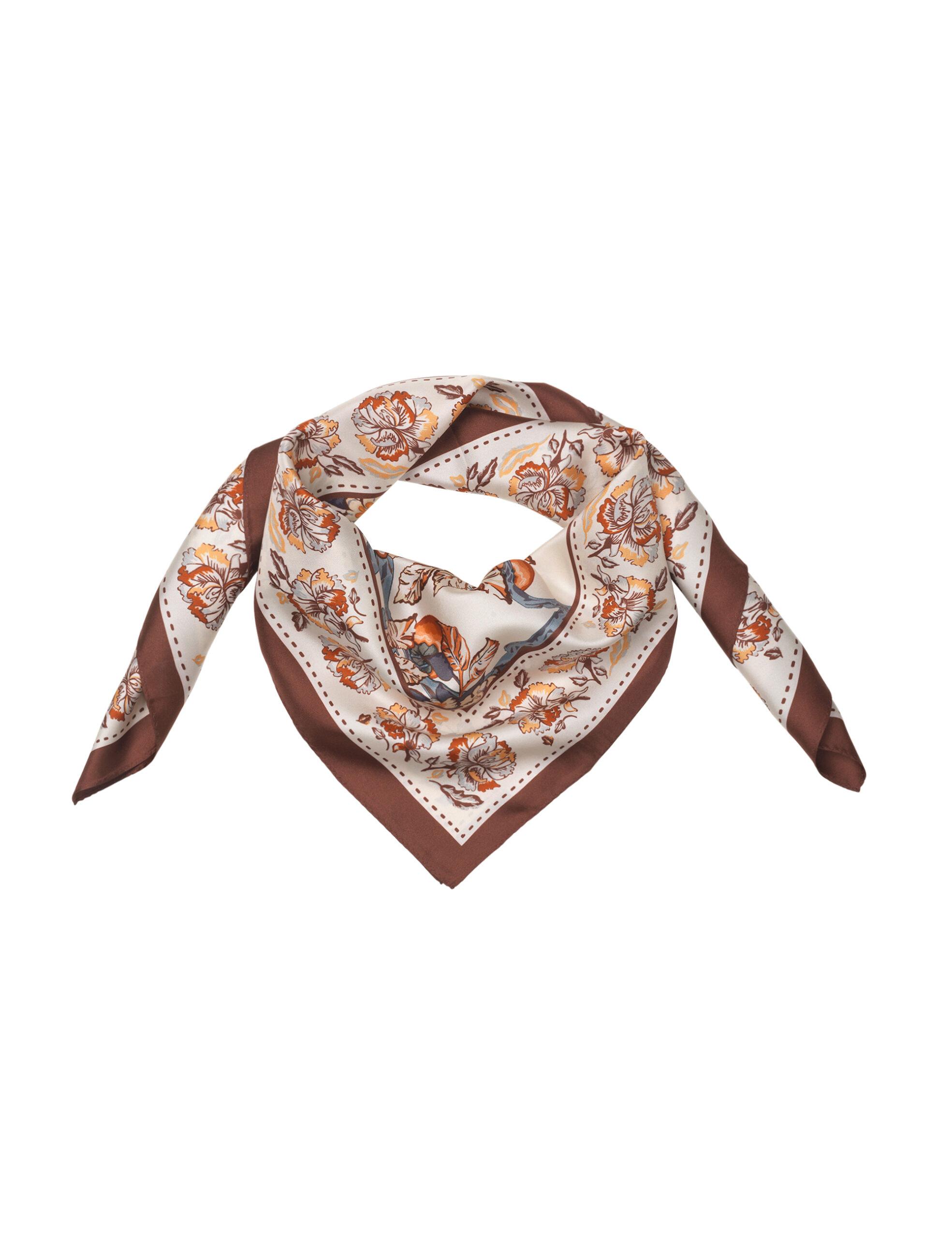 SILK SCARF – Rust flowers
