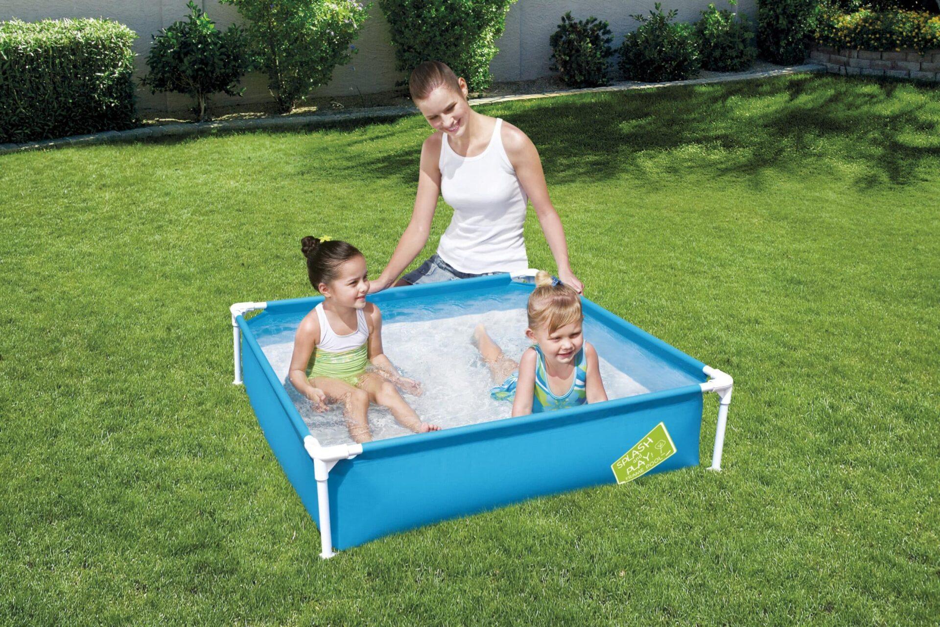 Firkantet Bestway barnebasseng barn svømming