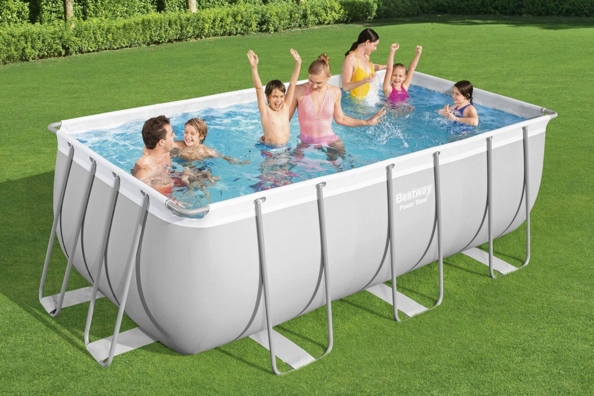 Rektangulært Power Steel Y3 svømmebasseng