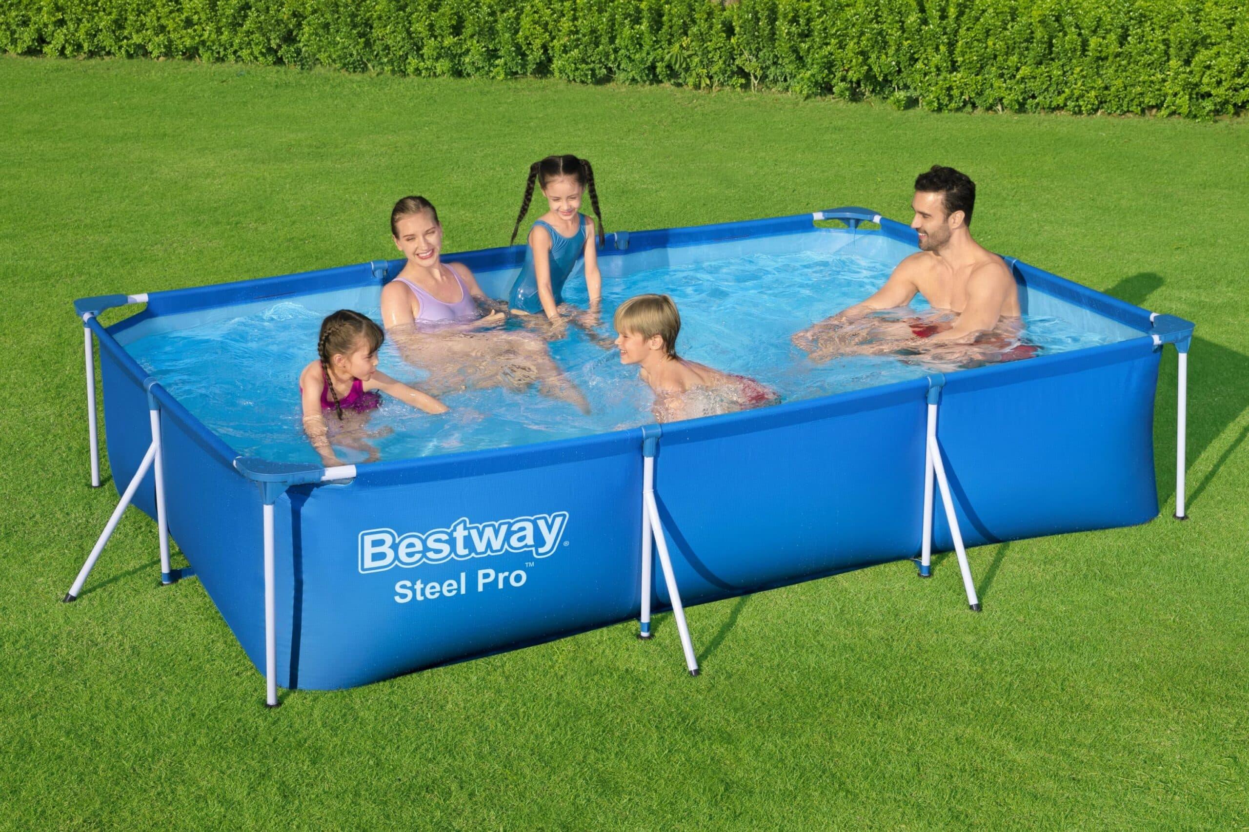 Rektangulært basseng Steel Pro STORT sett familie