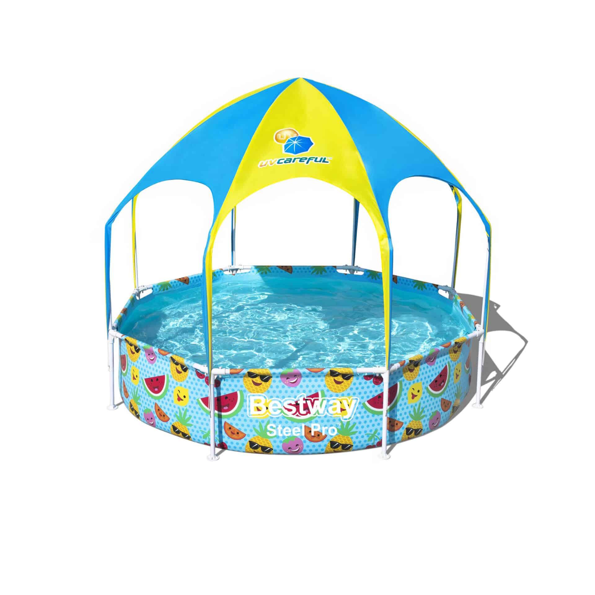 Rundt Steel Pro UV Careful barnebasseng med vannspreder