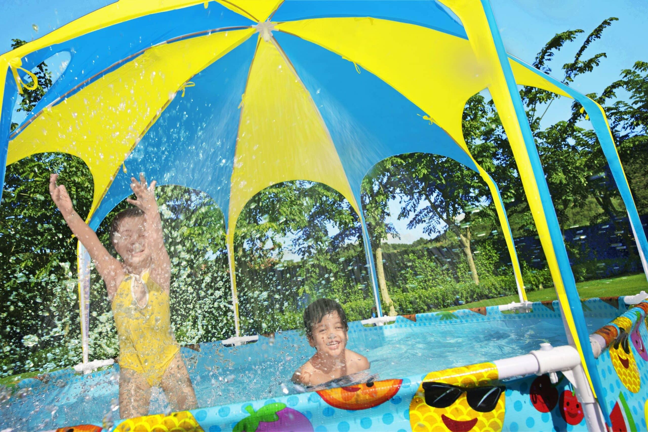Rundt Steel Pro UV Careful svømmebasseng med beskyttelse