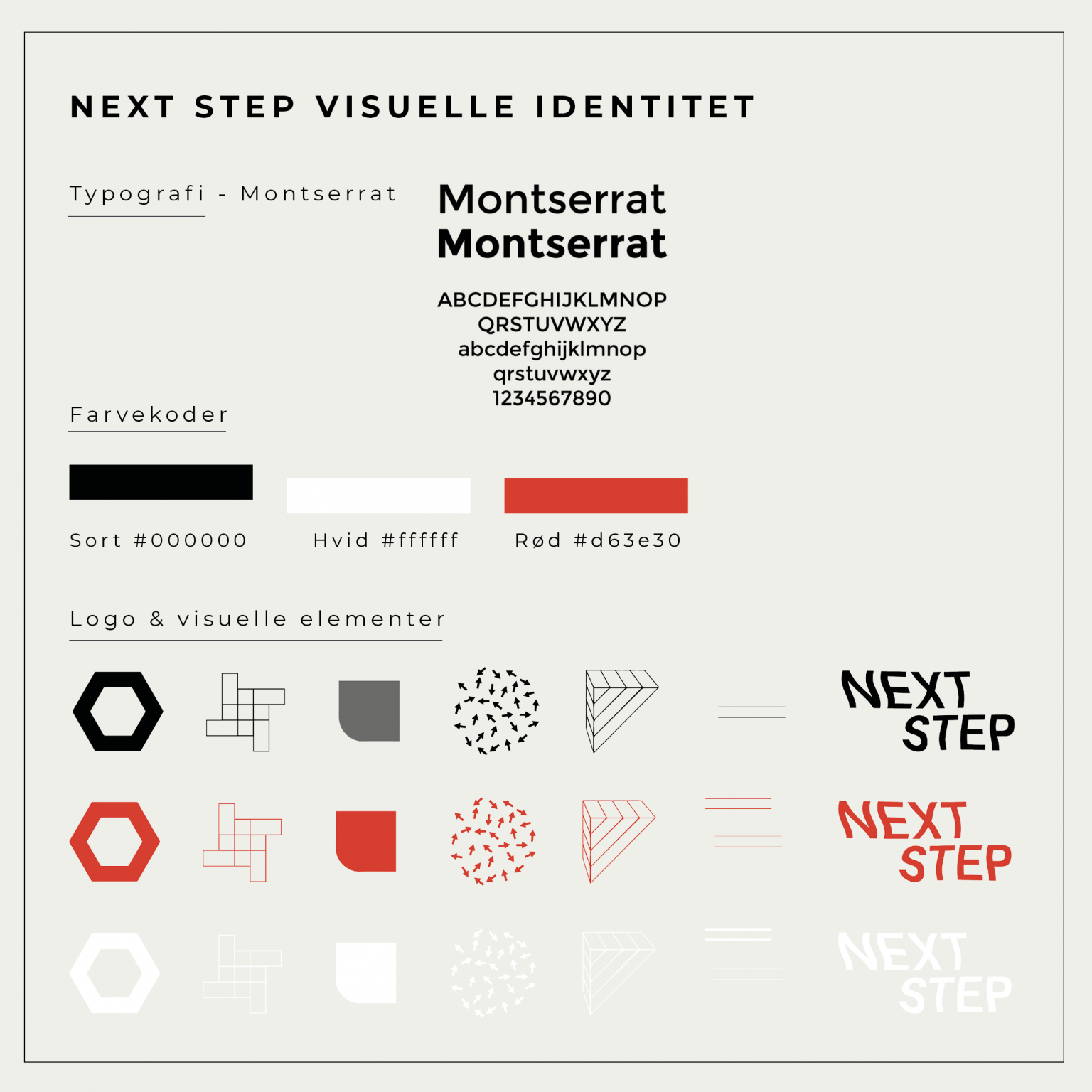 BineJoMo visuel identiet grafisk design NEXT STEP LOGO