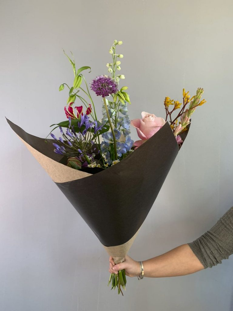 A beautiful packaged bouquet