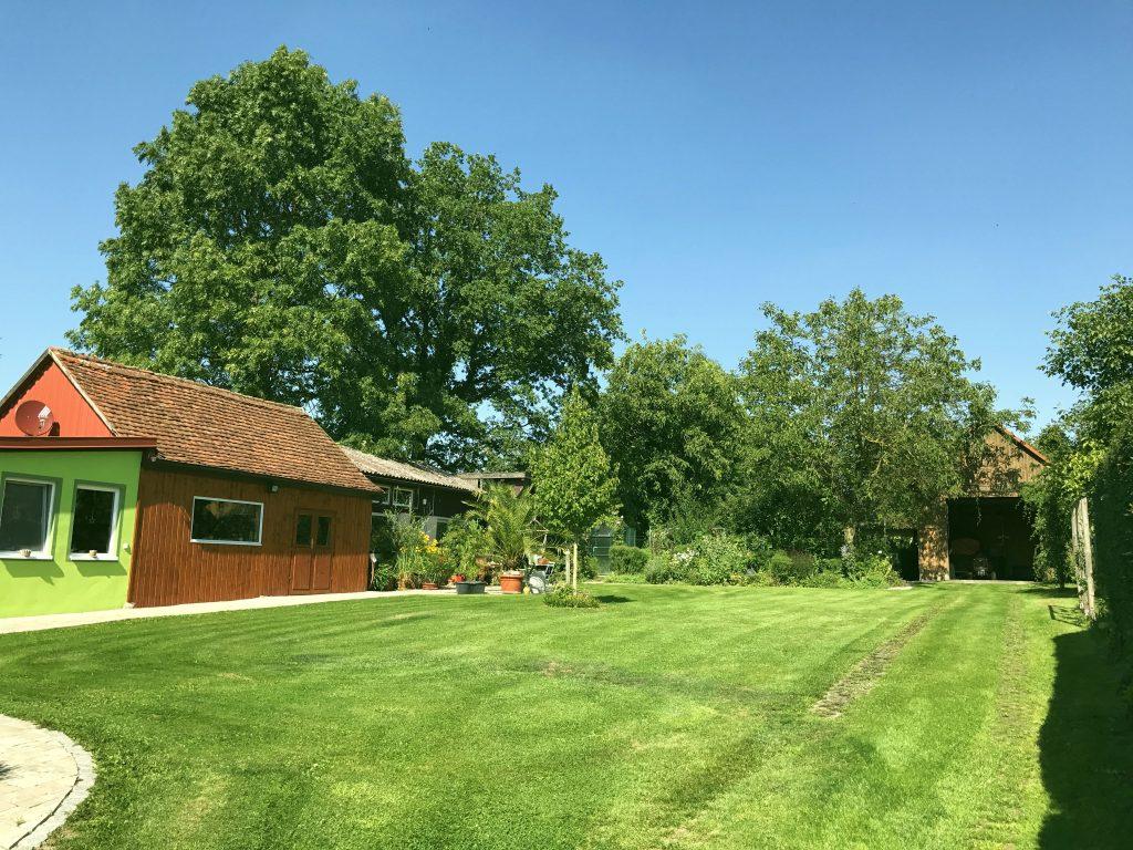 oberer Garten mit Hausbaum und mediterranem Platz