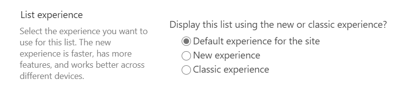 Dialogue for setting the list experience in the list settings on the site.