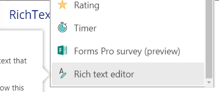 Screenshot of PowerApps showing the selection of a rich text control from the toolbar.