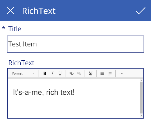 PowerApps Screenshot showing the default edit view. The rich text field is displayed correctly as a rich text editor.