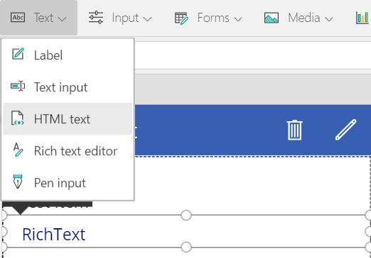 Screenshot of PowerApps showing the selection of a HTML text control from the toolbar.
