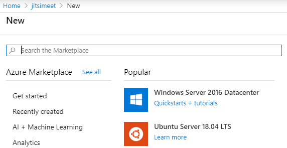 New resource screen in Azure Portal.