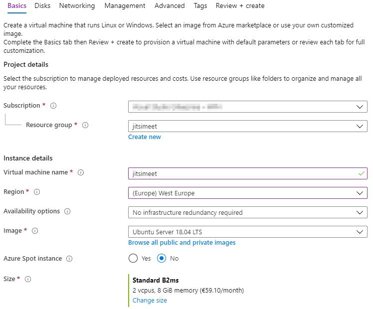 New VM screen in Azure Portal.