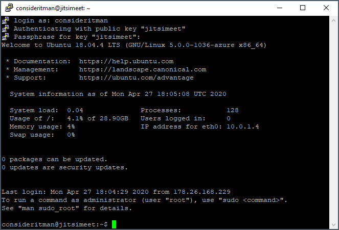 SSH console default view with system information