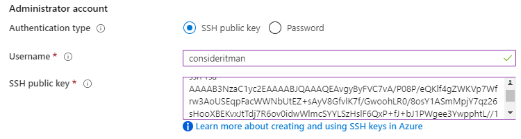 Admin-Account configuration showing public SSH key and username.