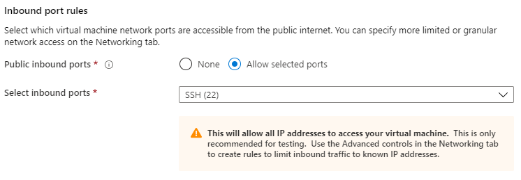 Port 22 (SSH) is opened by default.