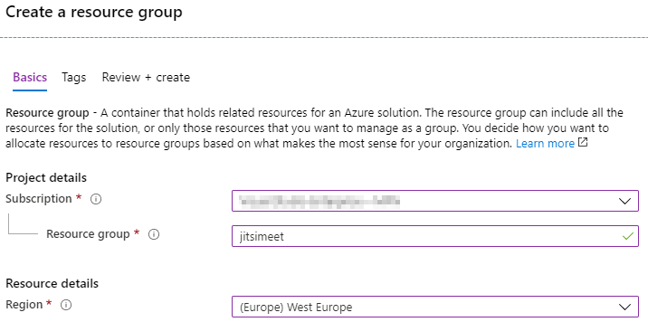 Creating a resource group in Azure Portal.