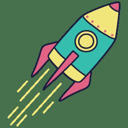 Cohete amarillo y turquesa Gualaru