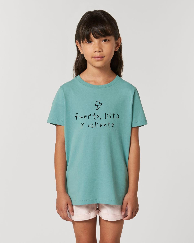 Regalo de comunion original camiseta niña fuerte lista y valiente