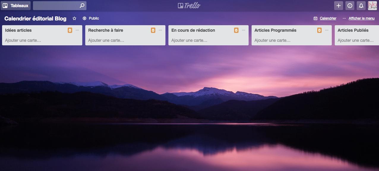 Je te propose un calendrier éditorial à modifier dans Trello.