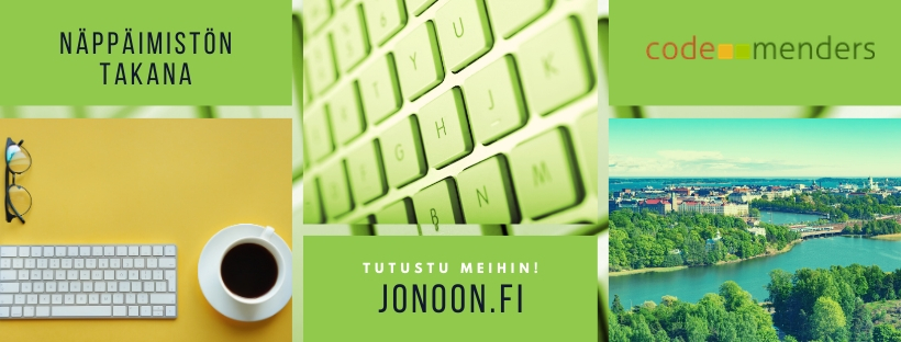 Collage of white keyboard and coffee cup on yellow background bottom left corner, up in the middle green keyboard, bottom right corner view of capital region coast from the sea and archipelago.