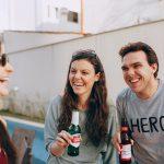 Three friends sharing a laugh.